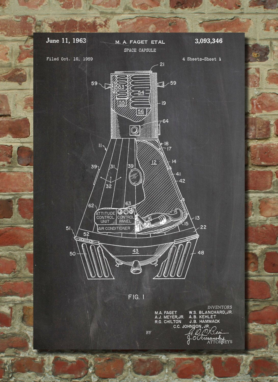 Nasa space capsule 1959 patent poster outer space nursery for Outer space decor for nursery