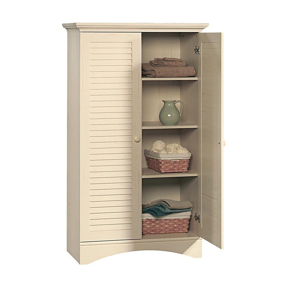 Sauder Harbor View Storage Cabinet 4 Shelf Antiqued White