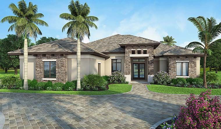 Mediterranean House Plan Chp 58358 Florida House Plans Mediterranean Homes Mediterranean Style House Plans