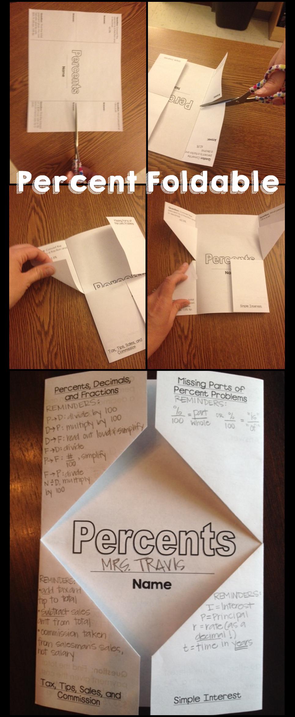 PERCENT Foldable, Graphic Organizer, and KWL Chart | Math ...