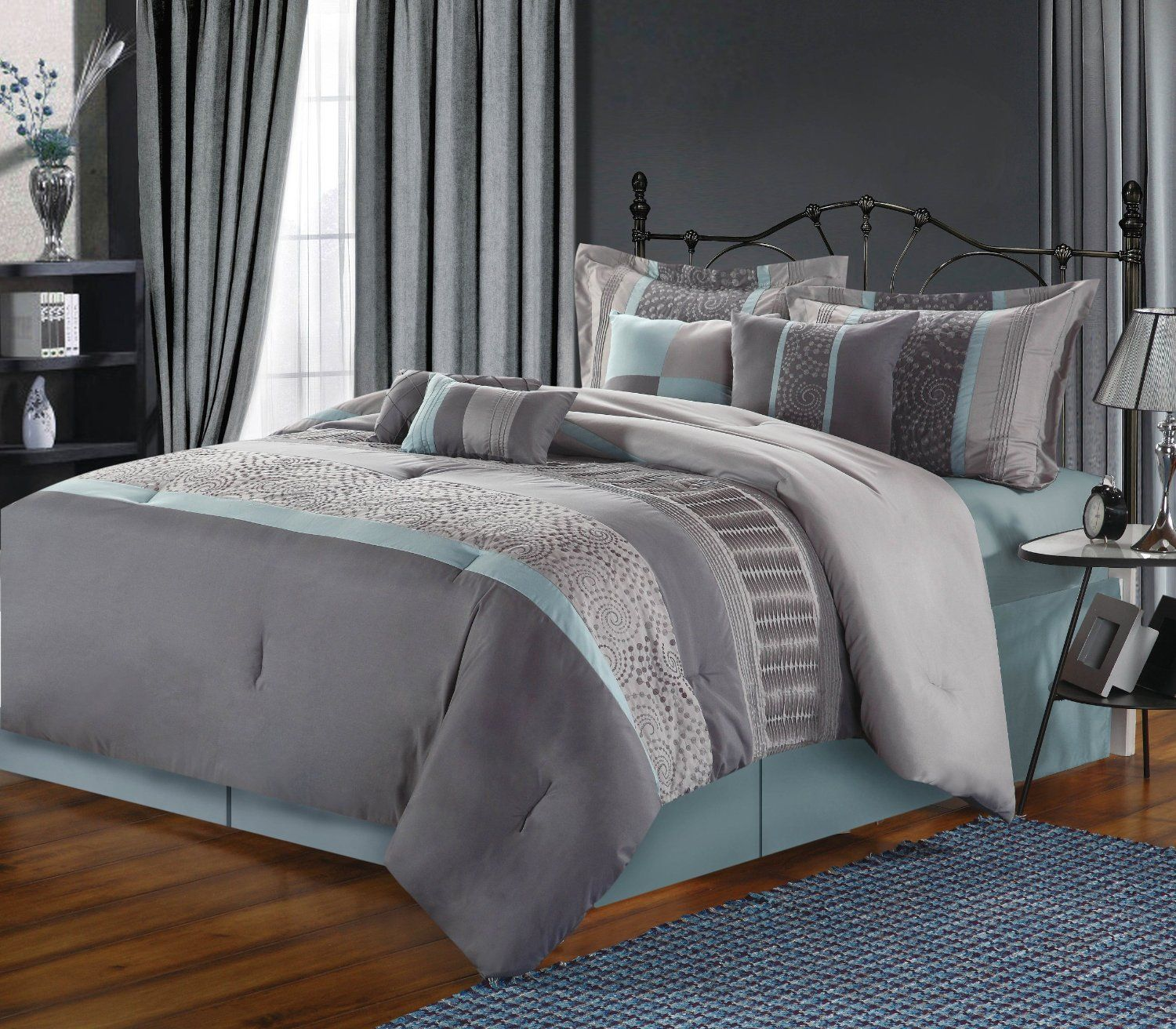 grey beige and aqua contemporary decorating  chic home piece  - chic home  piece euphoria embroidered comforter set king bluegrey