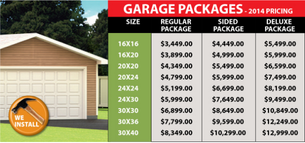Standard garage packages halifax nova scotia package for Garage packages nova scotia