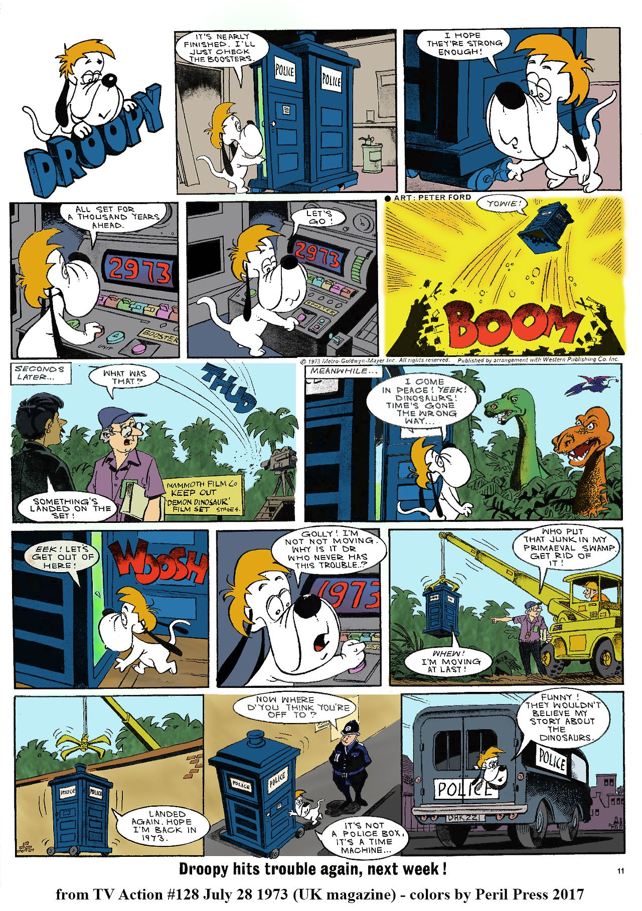 Droopy In The Tardis All Anyone Can Talk About Today Is When Do We Get The Droopy X2f Doctor Who Crossover And It Turns Cartoon Books Cartoon Comic Books