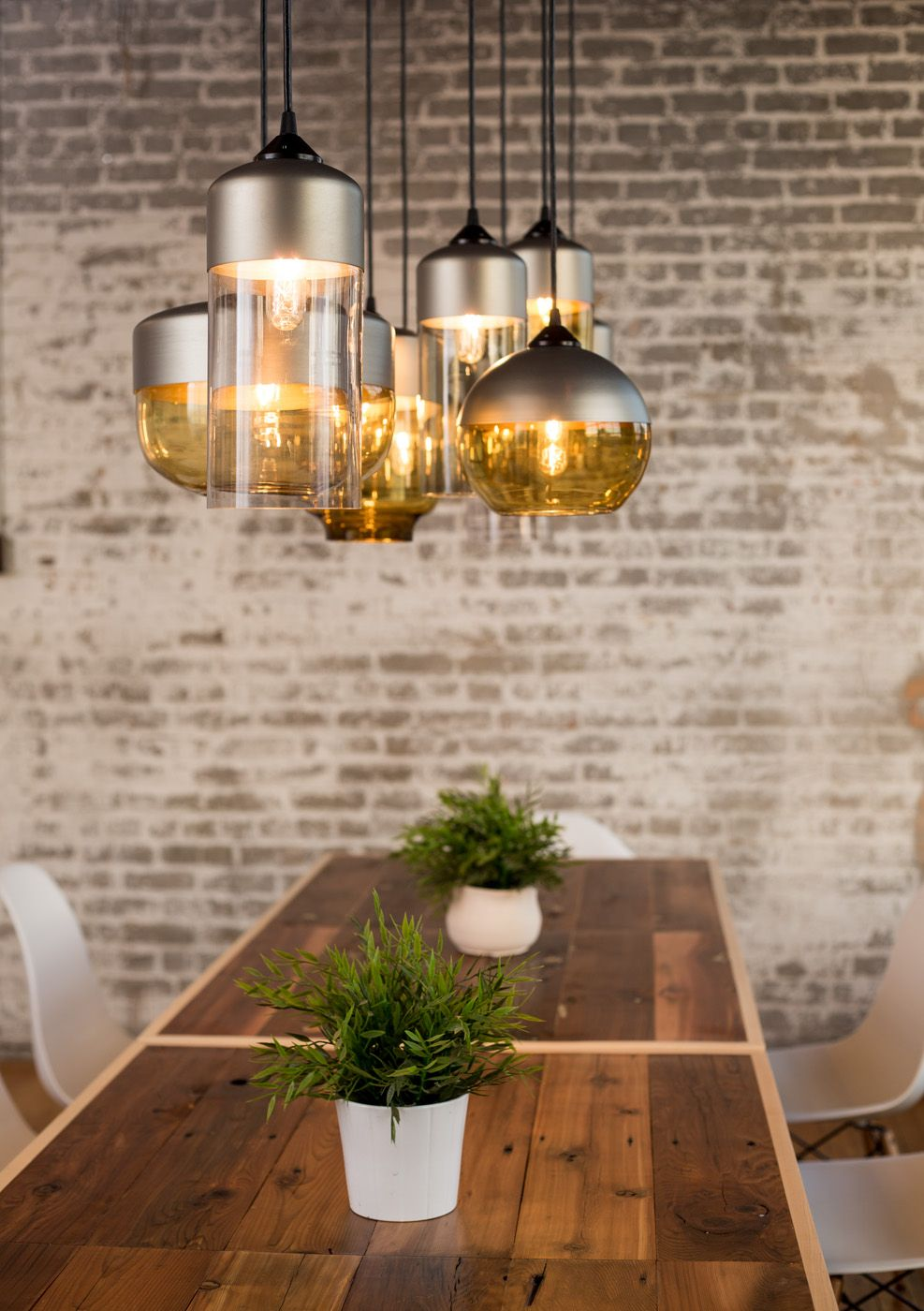 The Parallel Series Features Hand Blown Glass And Spun Aluminum Pendant Lights Simple Dining Table