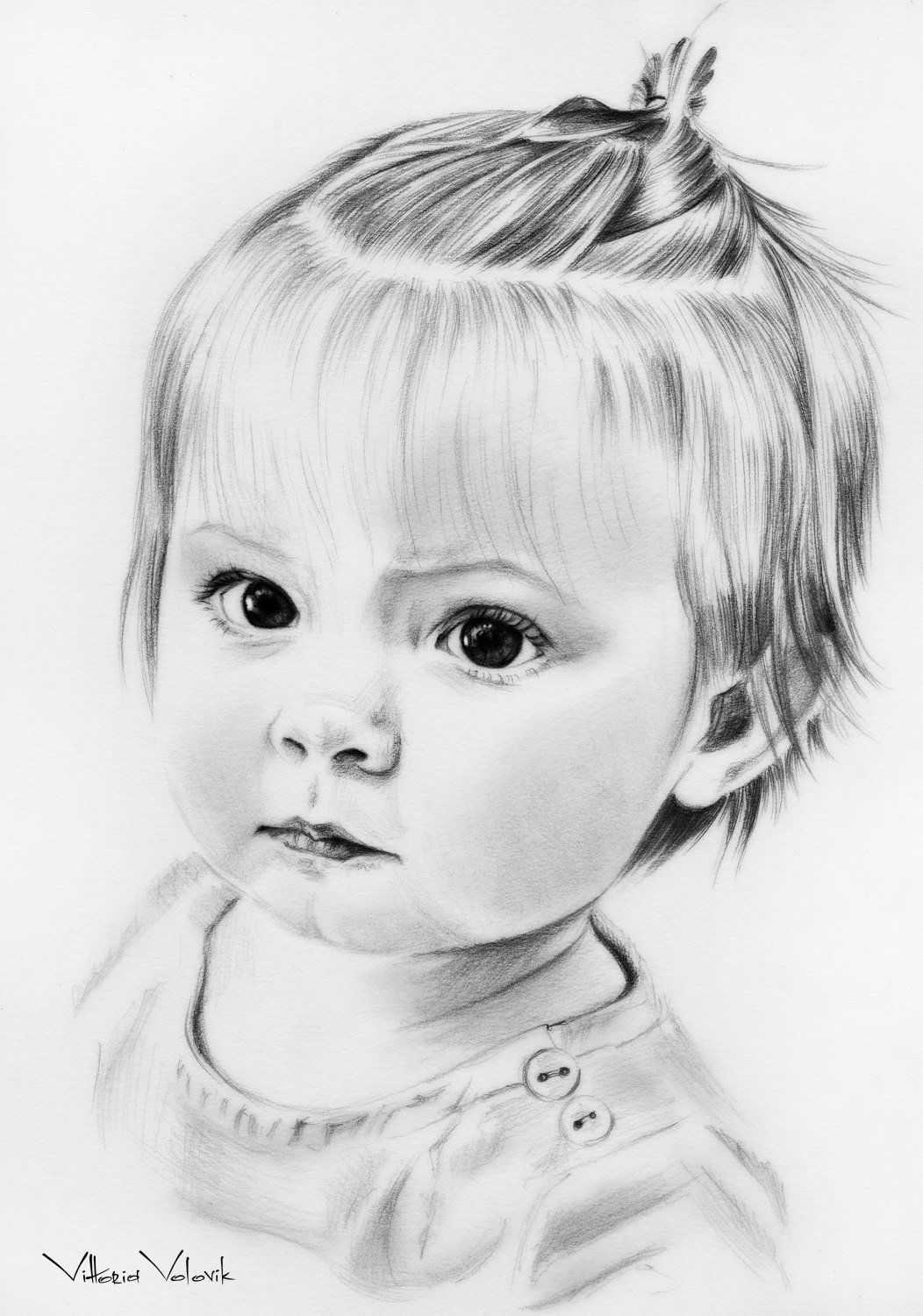 Custom baby portrait pencil drawing from your photo sketch etsy