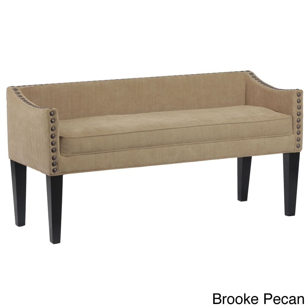 Prime Whitney Long Upholstered Bench With Arms And Nailhead Trim Uwap Interior Chair Design Uwaporg