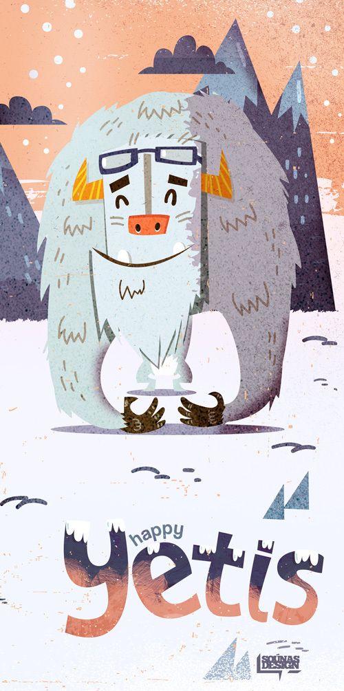 Happy Yetis::: | illustration by Ilias Sounas, via Behance | Proyek ...