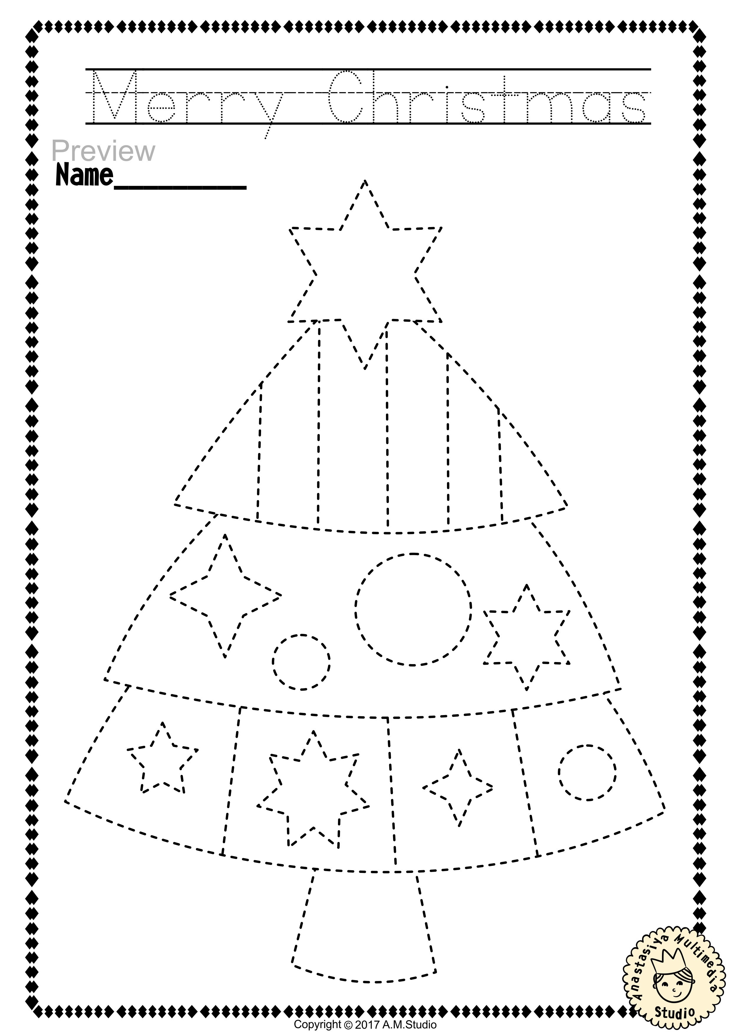 Christmas Trace And Color Pages Fine Motor Skills Pre