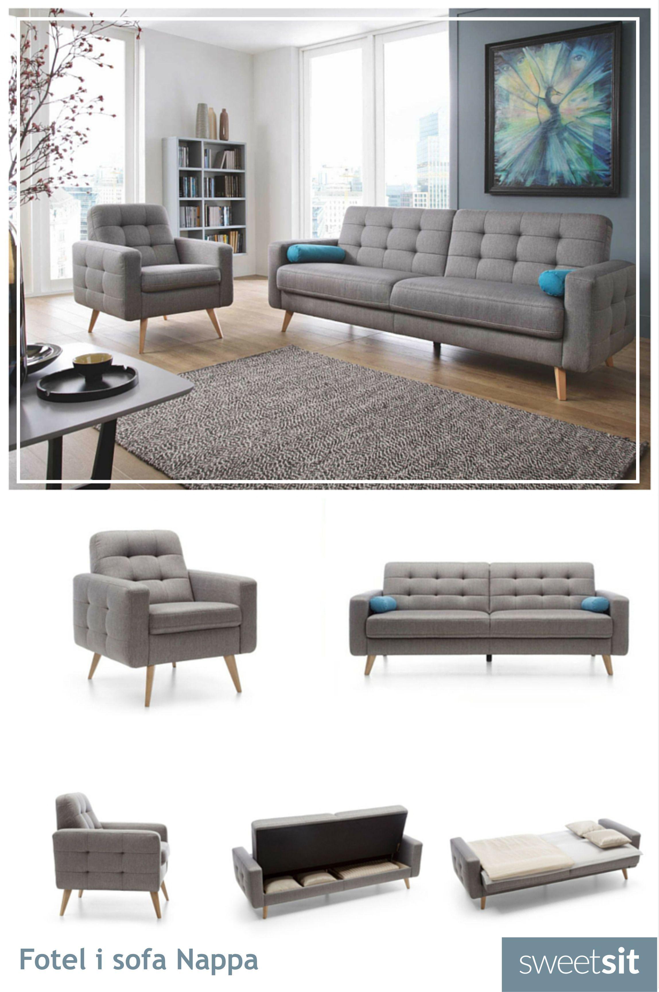 Sofa i fotel Nappa w modnym stylu skandynawskim stworzą przytulny