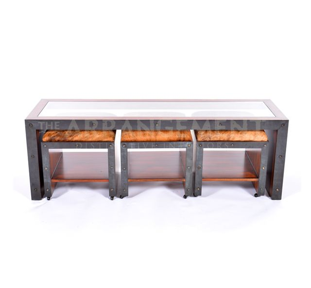 Coffee Table With Ottomans Sleek And Modern. Narrow And