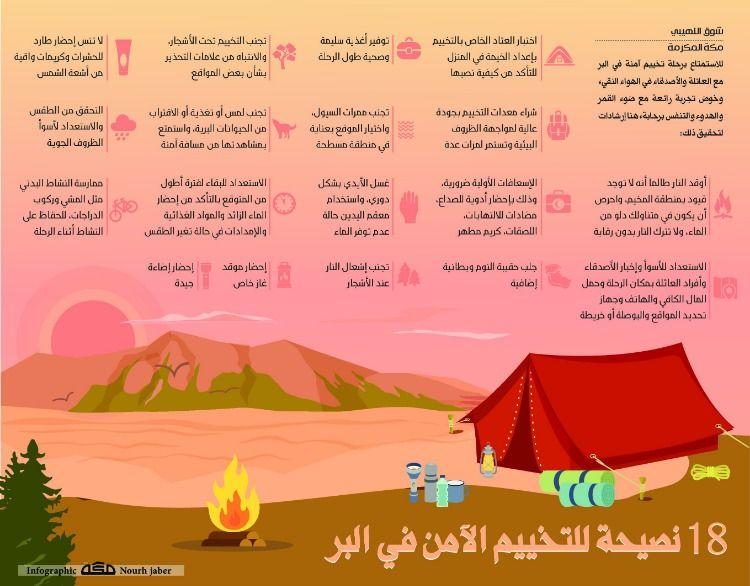 18 نصيحة للتخييم الآمن في البر صحيفةـمكة انفوجرافيك السفر Infographic
