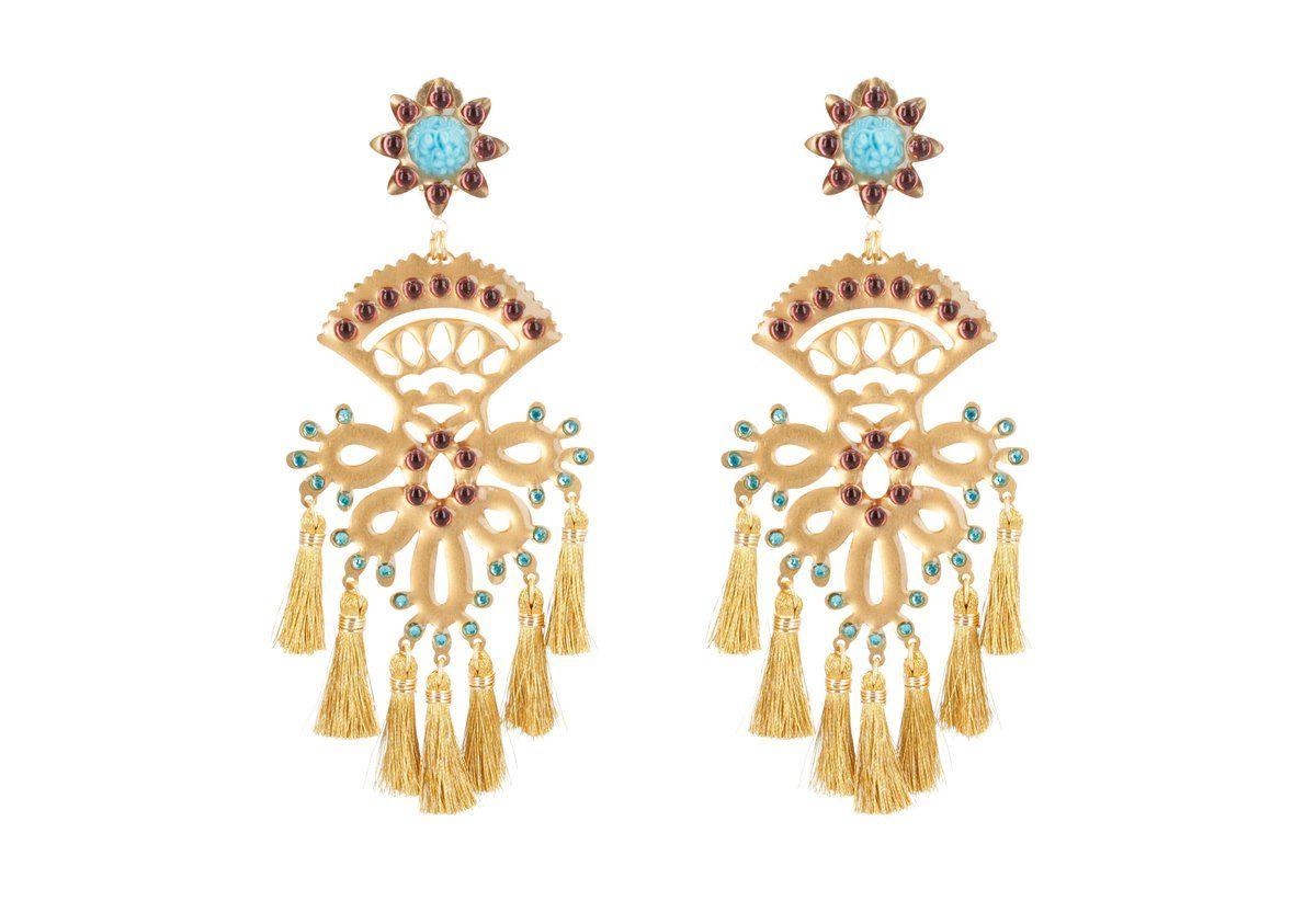 Mercedes Salazar Turquoise Inka Earrings | Ida & Vuelta