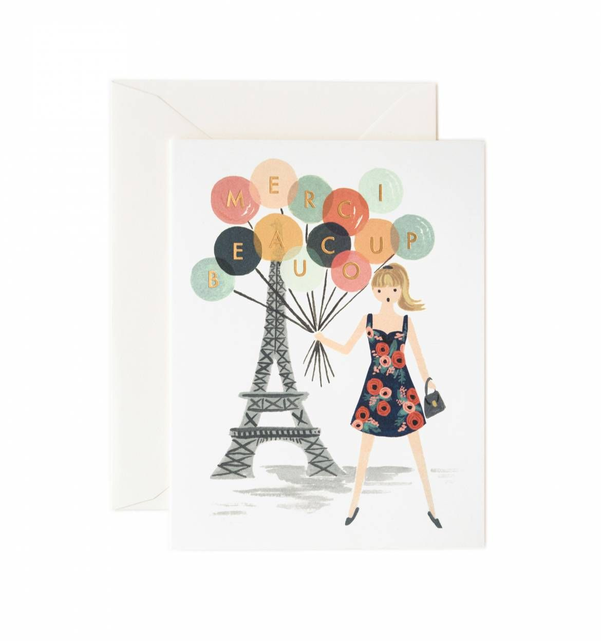 Merci beaucoup available as a single card or boxed set of 8 buy merci beaucoup full color plus foil stamp greeting card measures x merci beaucoup card by rifle paper co home gifts gifts stationery office kristyandbryce Choice Image