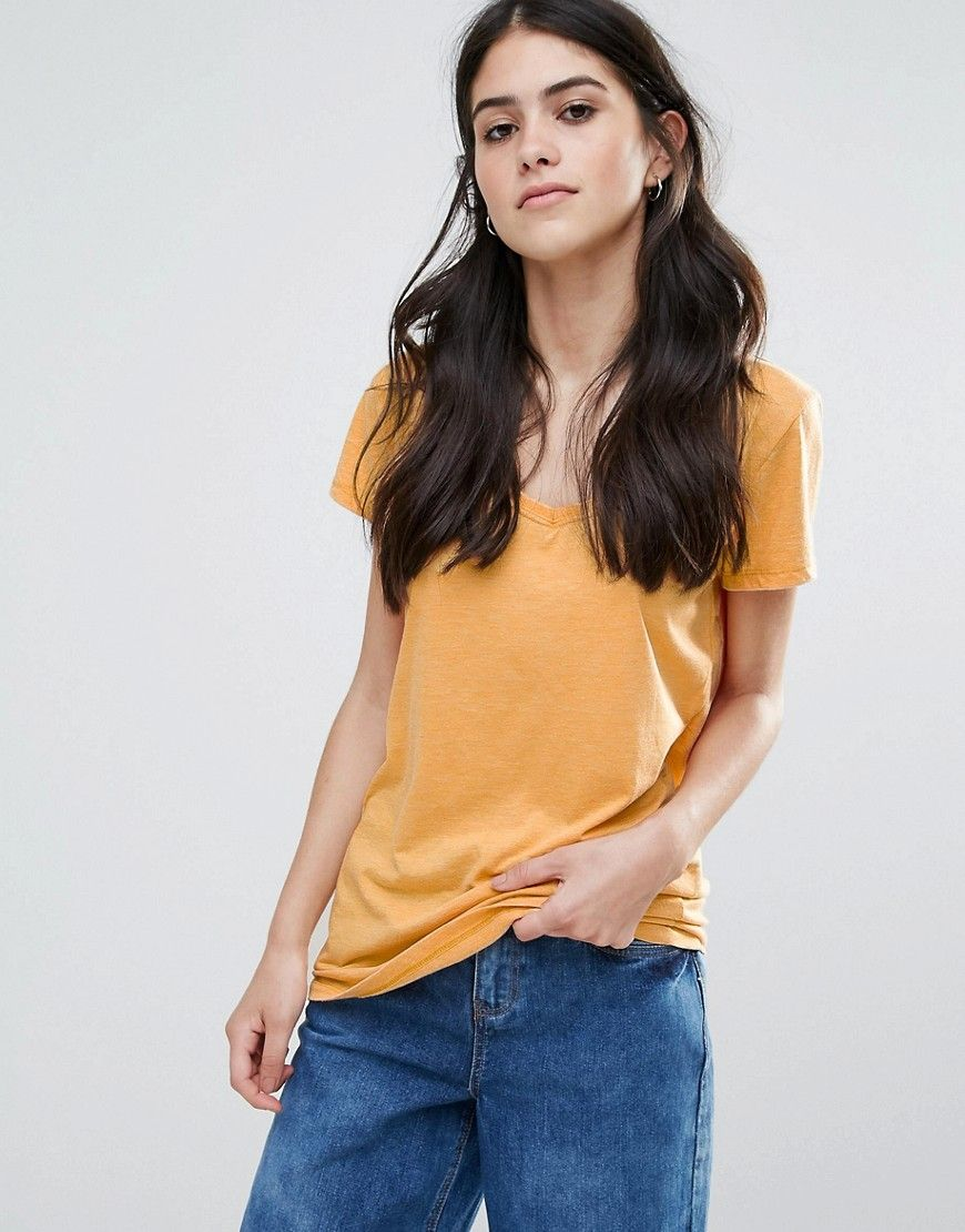 Only truly supersoft v neck tshirt yellow products