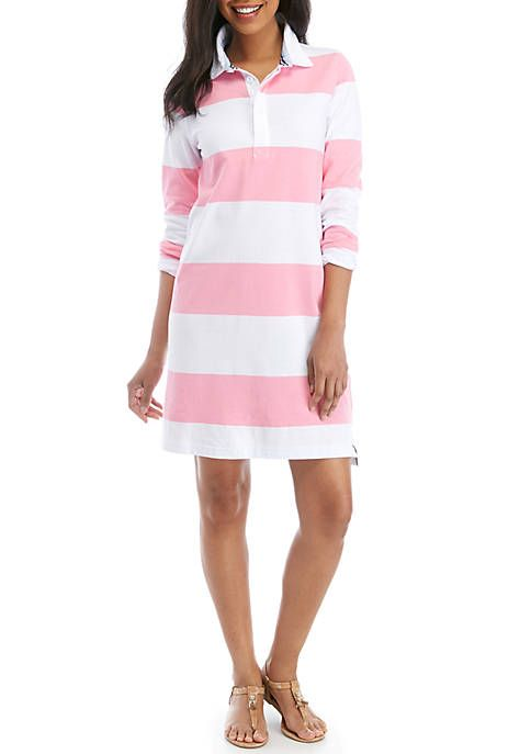 49161a798b5 Crown & Ivy™ Long Sleeve Stripe Rugby Polo Dress in 2019 | Style ...