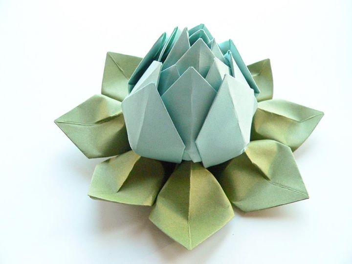 Flor de lotto kartta origami pinterest origami origami lotus flower in robins egg blue and moss green decoration favor handmade gift mightylinksfo
