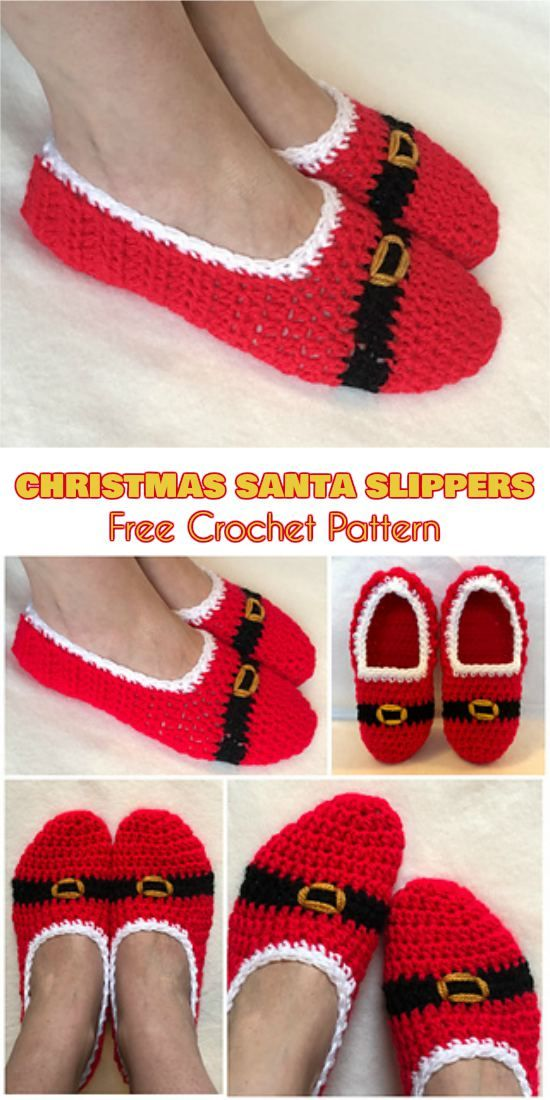 Quick Christmas Santa Slippers [Free Crochet Pattern]   Crochet ...