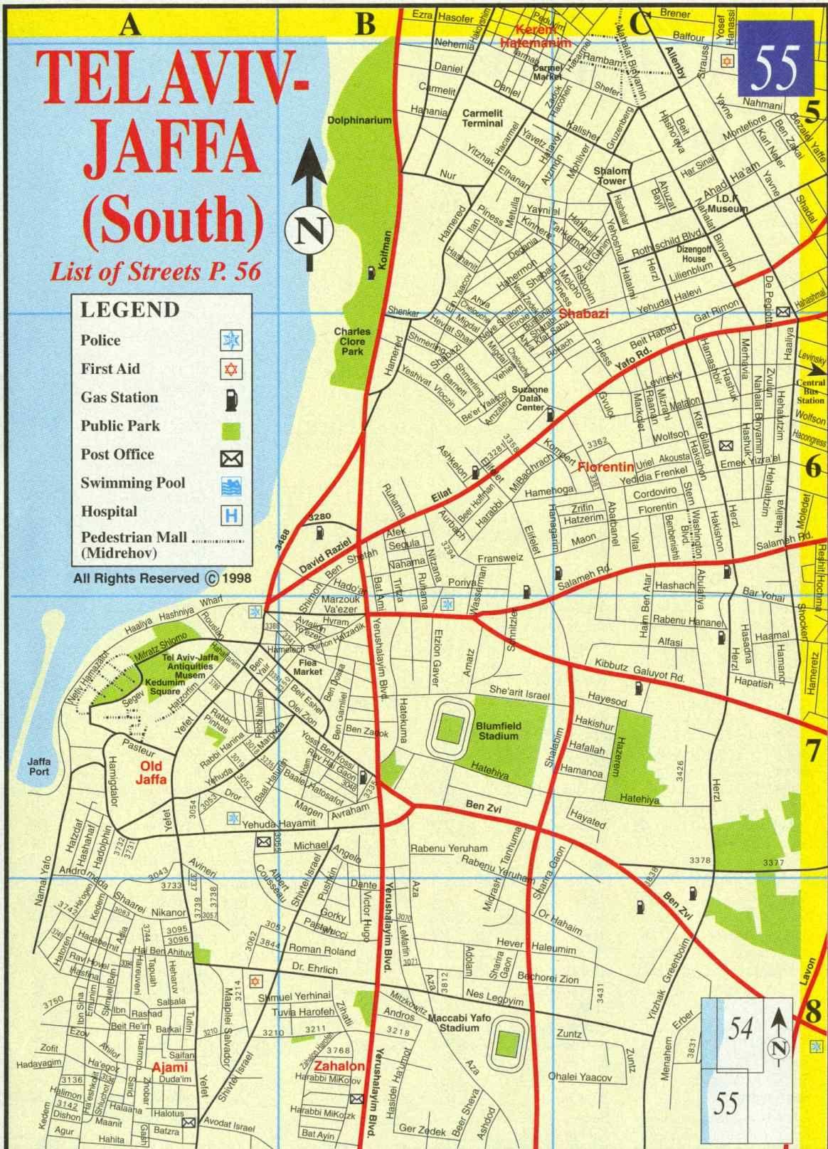 Maps of Tel Aviv Tourist map Tel aviv and Tour guide
