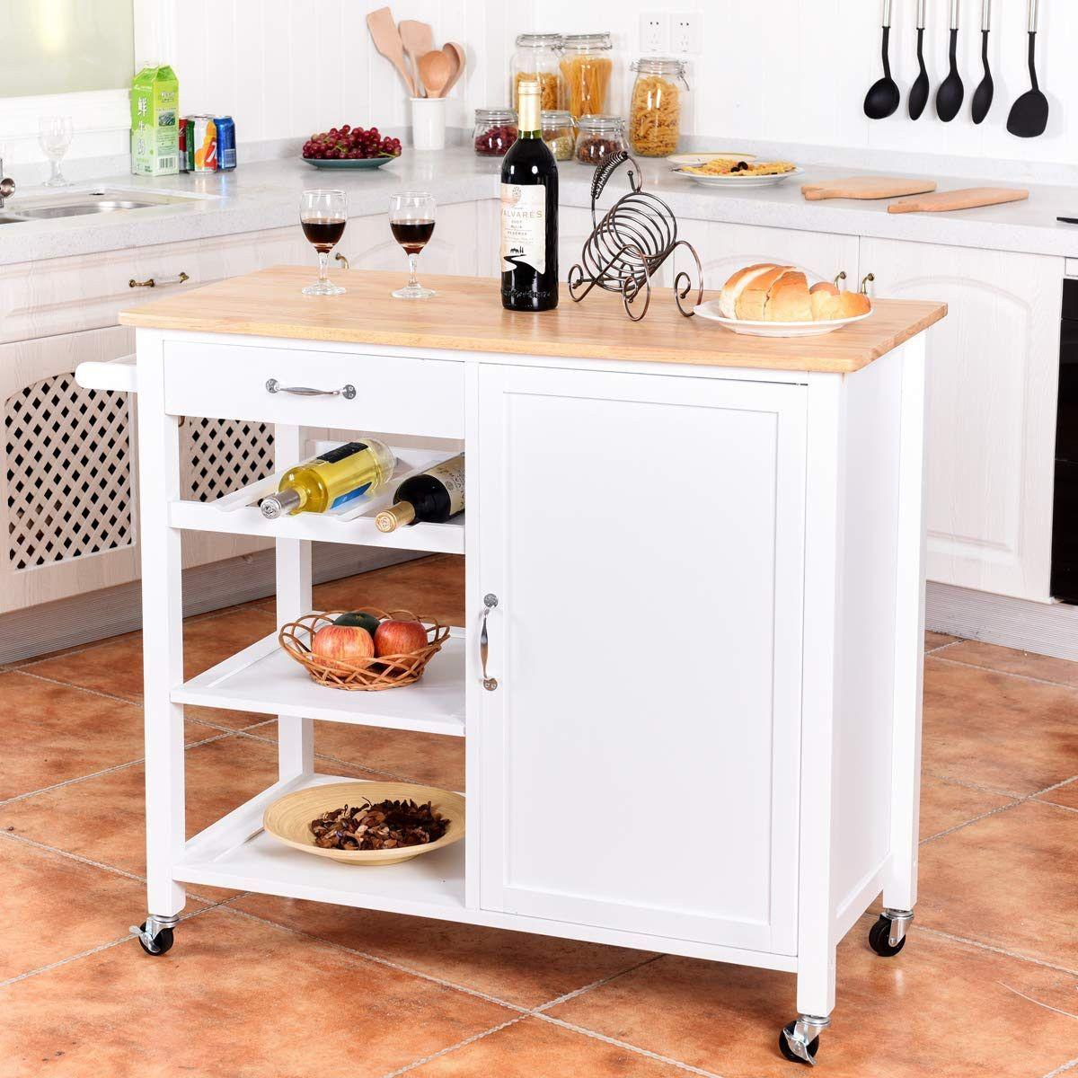 Giantex Kitchen Trolley Cart W Wheels Rolling Storage Cabinet Kitchen Trolley Cart Kitchen Wood Kitchen