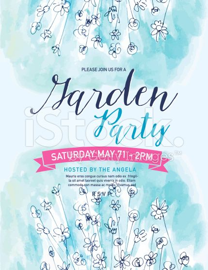 Blue Watercolor Garden Party Invitation Template. There are ...