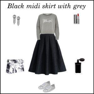 Black midi skirt with grey