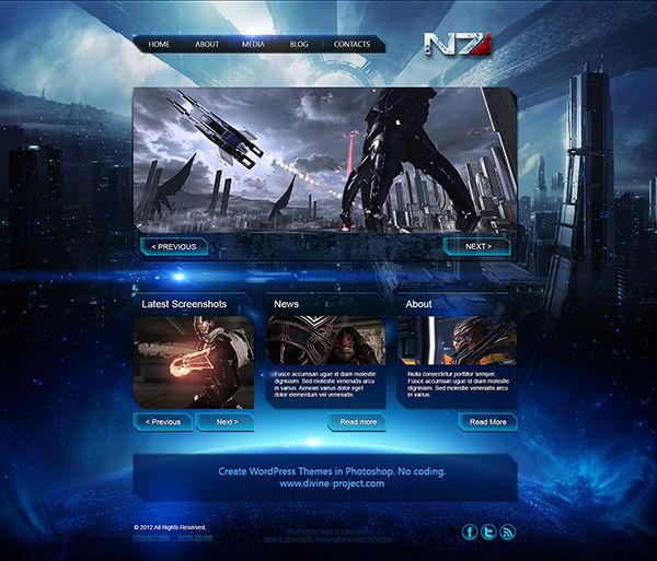 Mass Effect 3 Free Psd Template Psd Template Free Psd Templates Photoshop Freebies