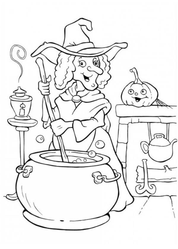 Gallery A Witch Making Potion On Halloween Day Coloring Page is free HD wallpaper.