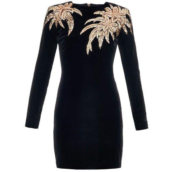 Balmain Velvet Mini Dress With Applique Black ❤ liked on Polyvore featuring dresses, short dresses, applique dress, velvet mini dress, balmain and balmain dress