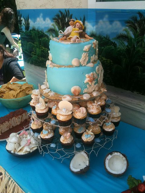 Beach Theme Baby Shower | Beach Themed Babyshower Cake And Cupcakes |  Flickr   Photo Sharing!