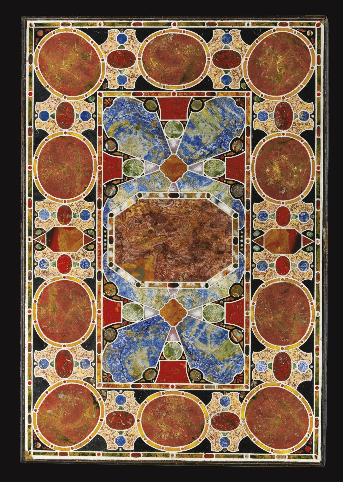 An Italian Pietre Dure And Pietre Tenere White Marble Inlaid Table Top,  Florence, Circa