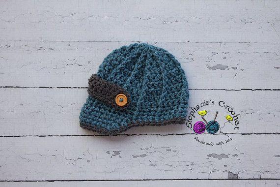 Crochet boy newsboy hat visor brim hat crochet by Stephyscrochet