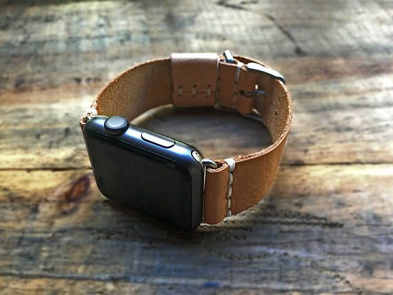 Apple Leather Watchband 38-42mm, Handmade genuine leather watch strap, apple watch strap. Made in the USA by our team at Arte-Lab.  This handmade leather strap comes in various sizes and colors, custom made to fit 38mm or 42mm watches. The adaptor comes fitted with the band and buckle. This product is premium made and completed with a refined touch. They mount easily, slides in and out of your watch slot. The adaptors come in the three of the four distinct colors: silver, gold and space gray…