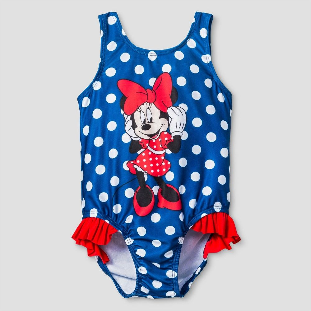 bafdab46c9ee5 Toddler Girls' Disney Minnie Mouse One Piece Swimsuit - Navy Dot 3T, Toddler  Girl's, Blue