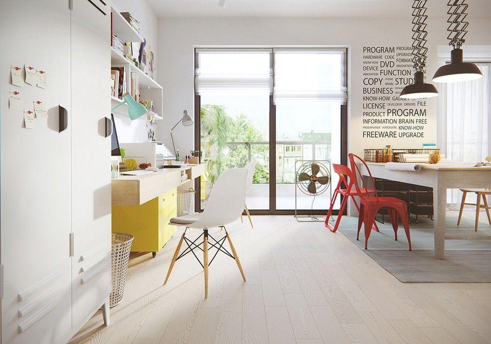 Képek, zsákfotel, design bútorok színes dekoráció fehér falakon ...