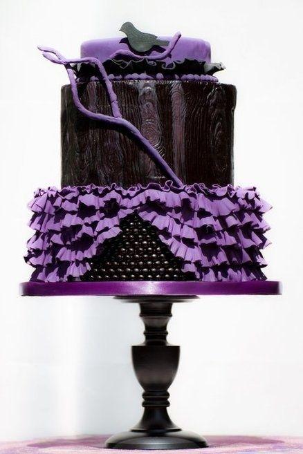 black purple gothic wedding cake