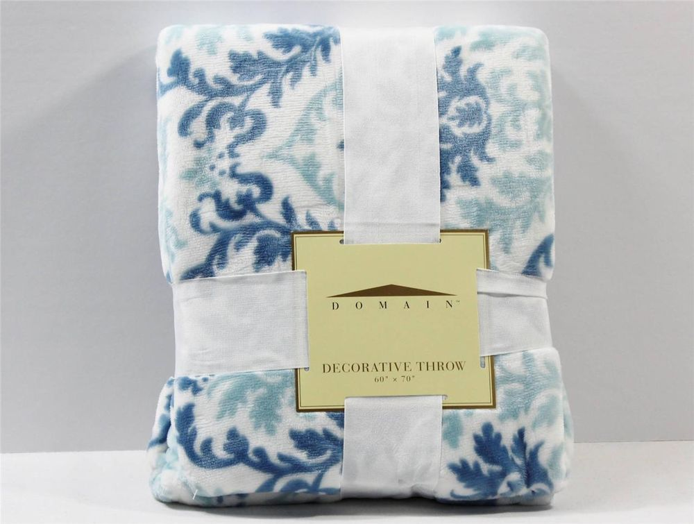domain decorative throw blanket blue white floral print polyester new blankets for bed cotton