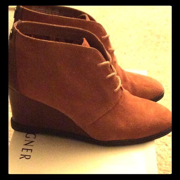 Etienne Aigner wedge suede booties Cute wedge booties Etienne Aigner Shoes Ankle Boots & Booties