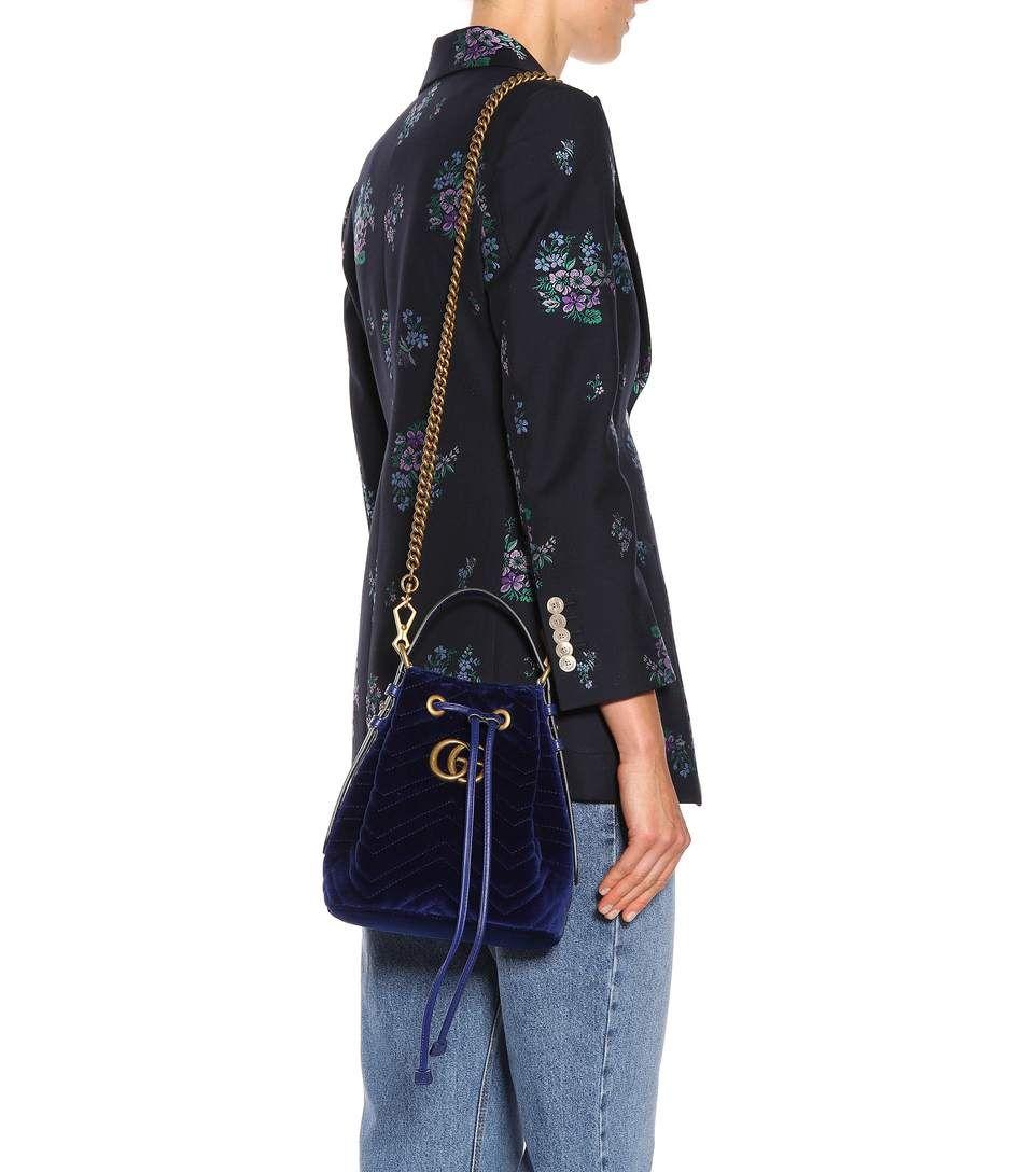 b4b14402c88 Gg Marmont Velvet Bucket Bag - Gucci   mytheresa   bags   Pinterest ...