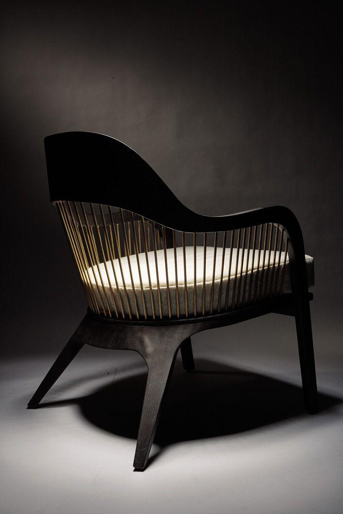 Lanka Chair. Solid Mahogany, burned oak veneer and steel. Reda Amalou Design.