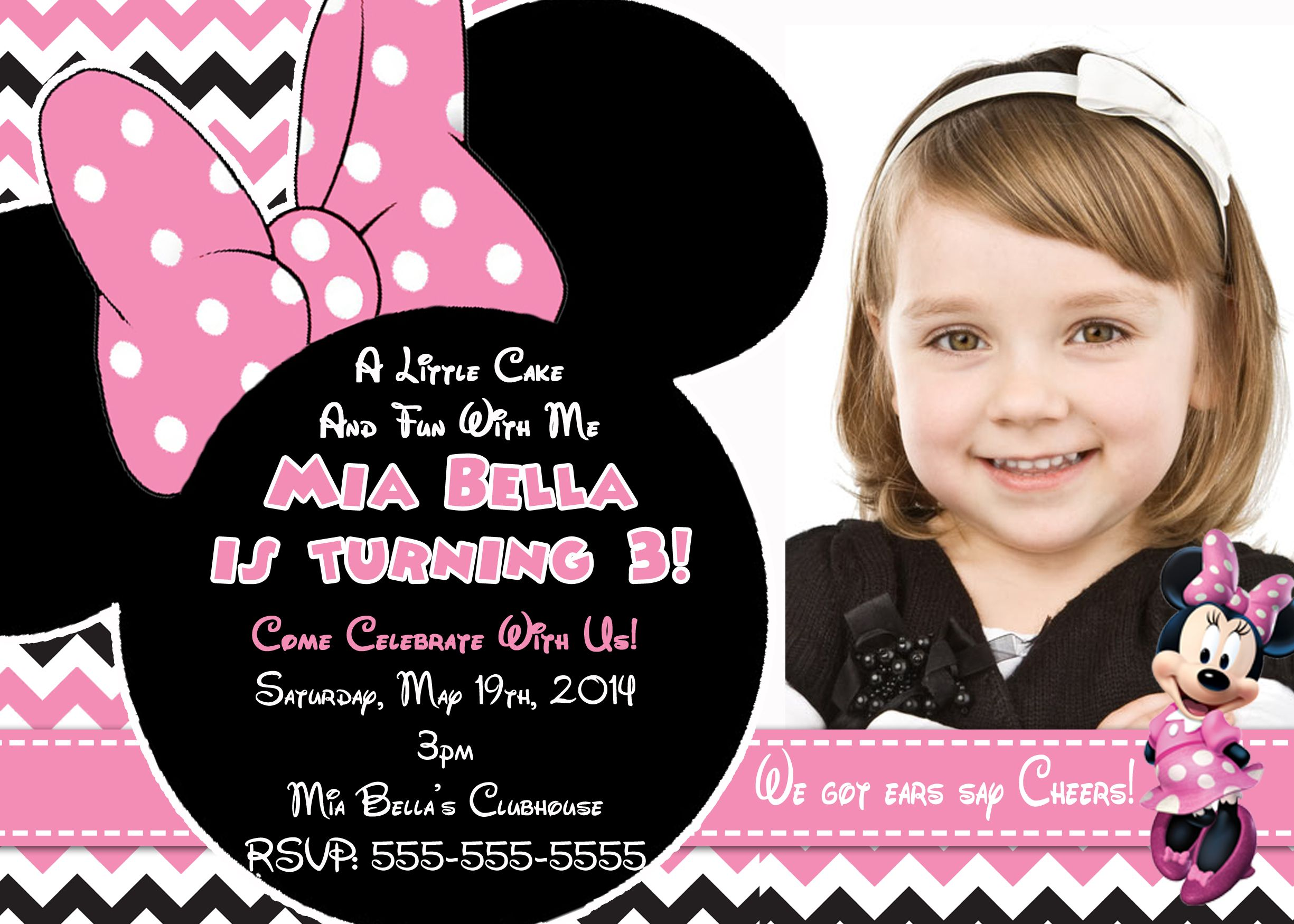 Pink Minnie Mouse Birthday Invitation 8