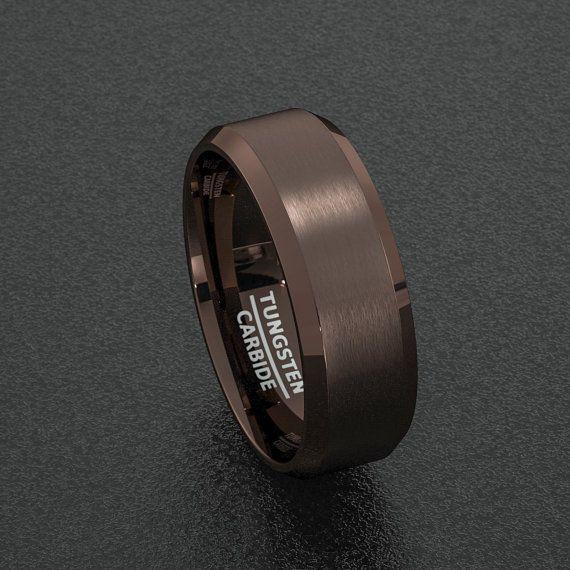 7fae9bc1608ed Mens Wedding Band Rare 8mm Dark Espresso Collection Brown Tungsten ...