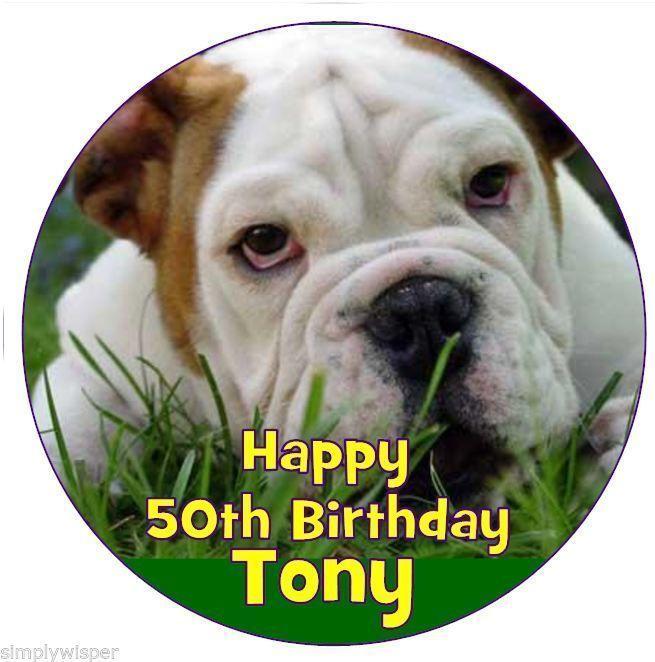 English Bulldog Dog Personalised Icing Cake Topper Birthday Decoration British Ebay Home Garden English Bulldog Dog Dog Person Bulldog Dog