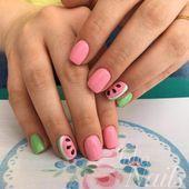 Eenvoudige roze en groene watermeloen zomer nagel kleuren voor korte ronde vormen #nail
