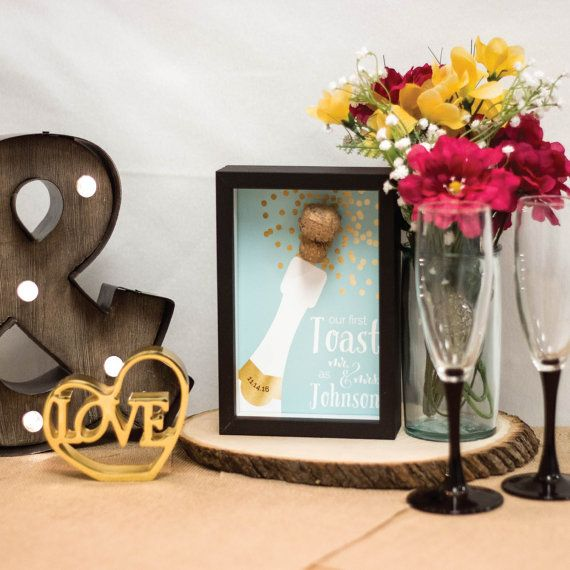 Cork Wedding Memory: Newlywed Gift Gold Champagne Cork Wedding First By