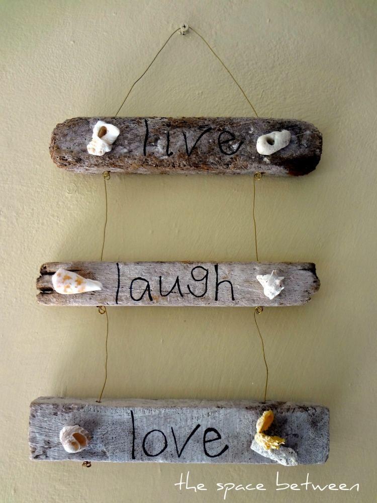 Motto Zum Aufhängen Aus Treibholz Und Muscheln Balkonideen