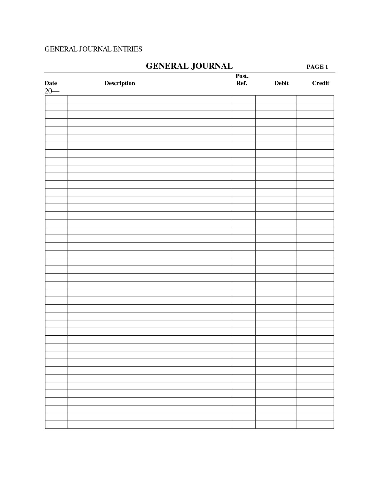 014 Accounting Journal Entry Template General