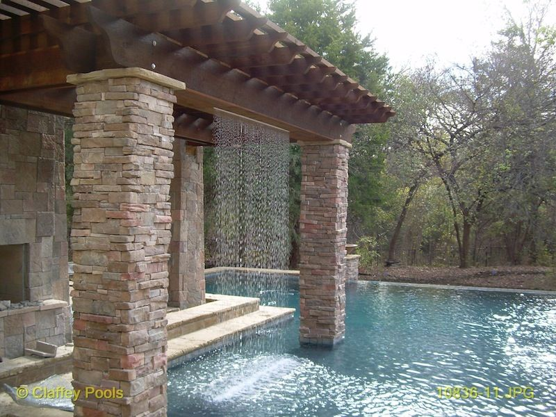 Shortish Pergola With Fireplace And Rain Curtain Pool