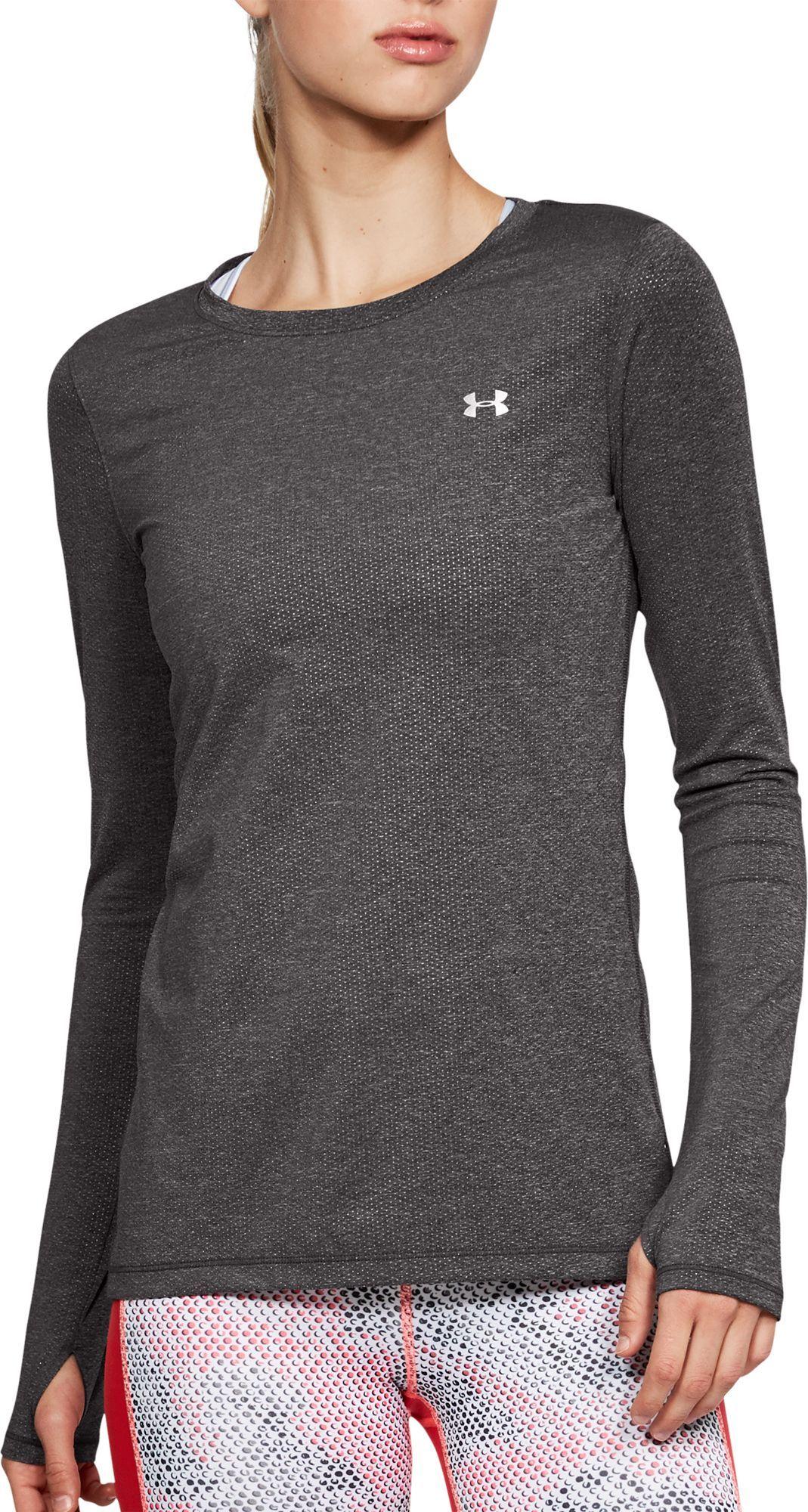 bc2032db5 Under Armour Women's HeatGear Armour Long Sleeve Shirt, Charcoal Heather