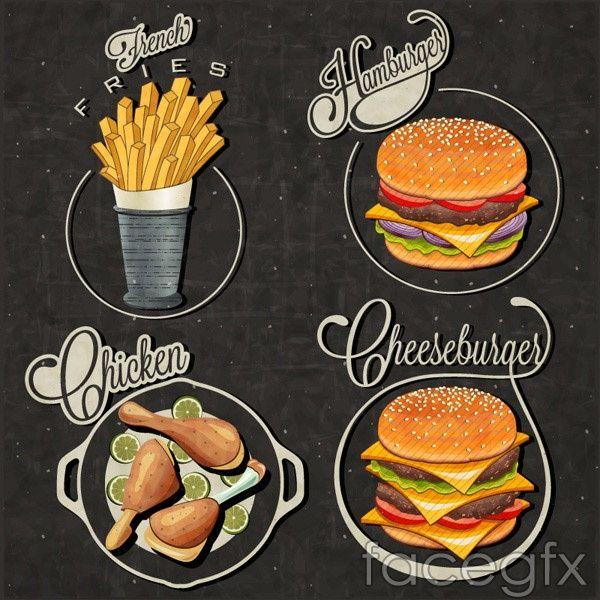 Fast Food Labels Vector Fast Food Logos Food Logo Design Vintage Recipes