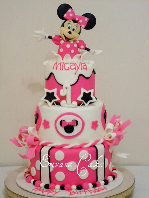 Pleasing Great Minnie Mouse 1St Birthday Cake Minnie Mouse Birthday Cakes Personalised Birthday Cards Veneteletsinfo